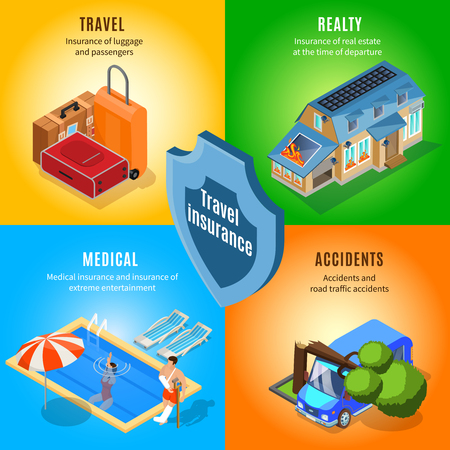 Isometric travel insurance service concept with protection from accidents on rest baggage realty and health insurance vector illustration Stock Vector - 101870999