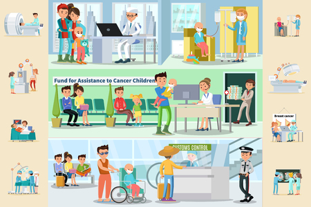 Cancer disease horizontal brochures with medical treatment fund for sick children assistance father with son in wheelchair in airport vector illustration Illustration