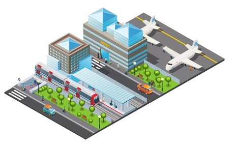 Isometric public transport template with airport building airplanes metro station train cars trees and passengers isolated vector illustration Illustration