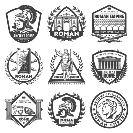 Vintage monochrome roman empire labels set with Caesar ancient buildings gladiator helmet sword shield chariot columns laurel wreathes isolated vector illustration Ilustracja