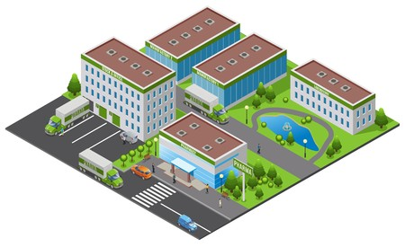 Isometric pharmaceutical plant concept with office factory laboratory pharmacy buildings trucks people trees water pond isolated vector illustration Illustration