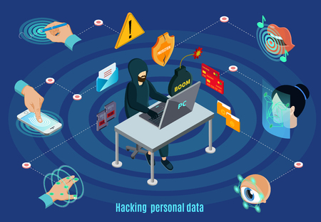 Isometric biometric hacking protection system concept with signature reference hand retina face saliva authentication isolated vector illustration