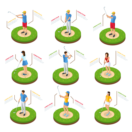 Isometric golfers set of golf players with clubs standing on lawn in various poses isolated vector illustration