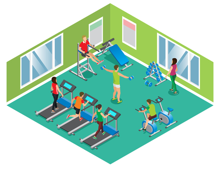 Isometric fitness club concept with athletic men and women exercising on different trainers isolated vector illustration