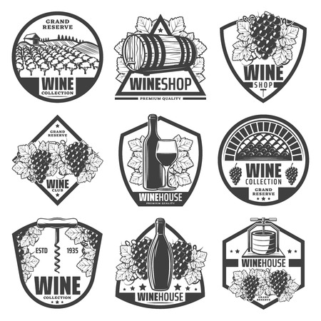 Vintage monochrome wine labels set with wineglass bottles wooden barrels of wine grape bunches corkscrew vineyard isolated vector illustration