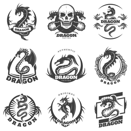 Vintage monochrome dragon tattoo labels set with inscription mythological reptiles skull and flowers isolated vector illustration