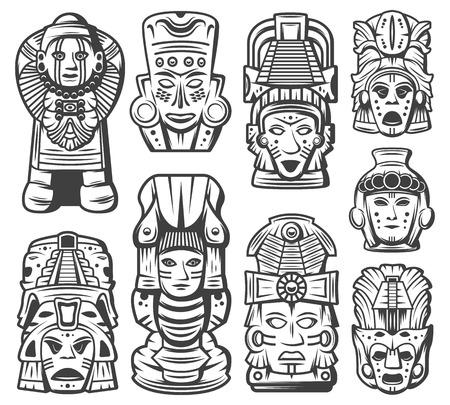 Collezione di oggetti di civiltà maya monocromatica vintage con maschere cerimoniali tribali e totem aztechi isolato illustrazione vettoriale Vettoriali