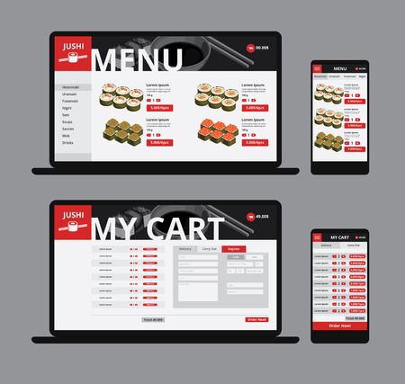 Responsive asian food web shop template with sushi and navigation menu on laptop and mobile isolated vector illustration Illustration