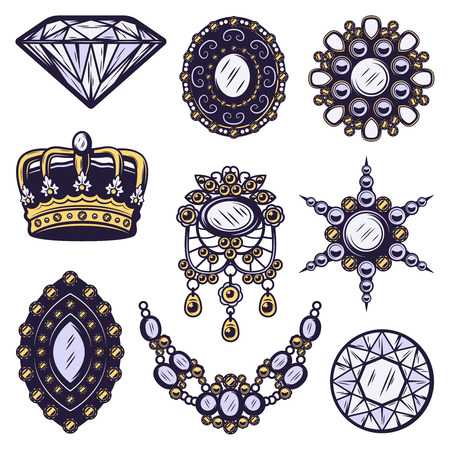 Vintage colored jewelry elements set with diamond royal crown necklace and brooches isolated vector illustration