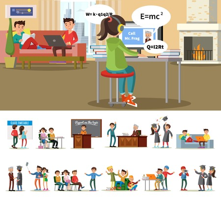 Education and learning concept with students in different situations in university vector illustration