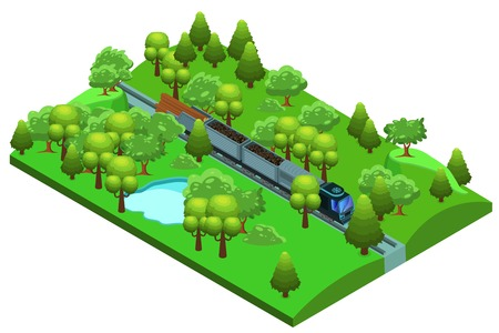 Isometric freight train template with railway vehicle moving across forest and transporting wood and coal vector illustration