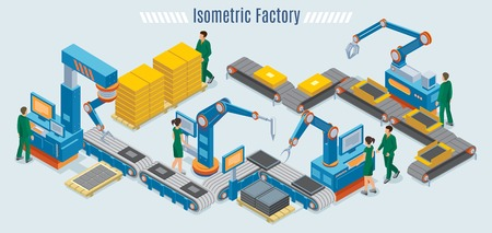 Isometric industrial factory template with assembly line automated robotic arms and workers monitoring conveyor belt isolated vector illustration