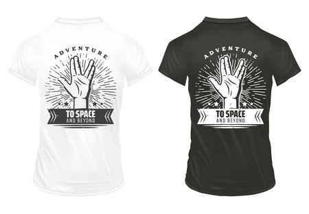 Vintage hand prints template with inscription vulcan salute greet gesture sunburst on black and white shirts isolated vector illustration