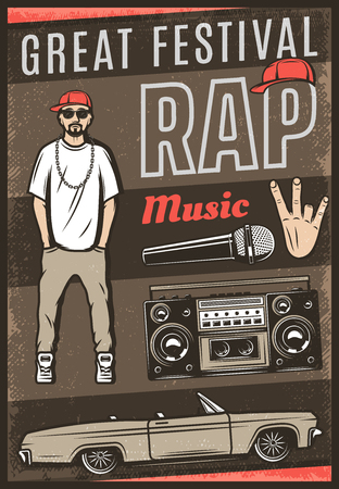 Vintage colored rap music festival poster with inscription rapper car cabriolet boombox microphone hand gesture vector illustration