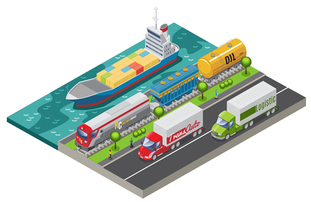 Isometric logistic transportation concept with ship freight train and trucks transporting cargo isolated vector illustration