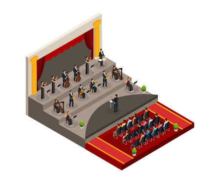 Isometric symphony orchestra concept with conductor and musicians play classical music in front of audience isolated vector illustration