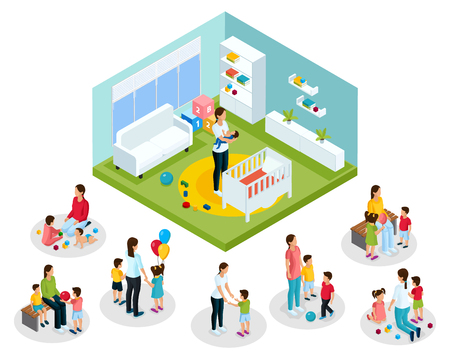 Isometric babysitter and kids concept of nanny playing walking with children and putting baby to sleep isolated vector illustration