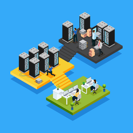 Isometric data center concept with women working in office and engineers repair and maintain hosting servers isolated vector illustration