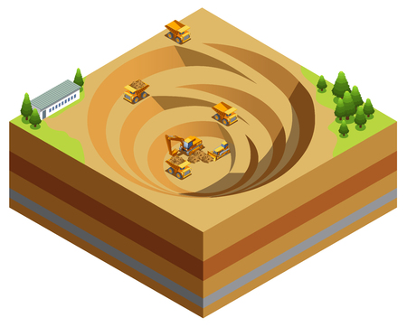 Isometric mining industry concept with dump trucks excavator bulldozer working in quarry for diamond extraction isolated vector illustration