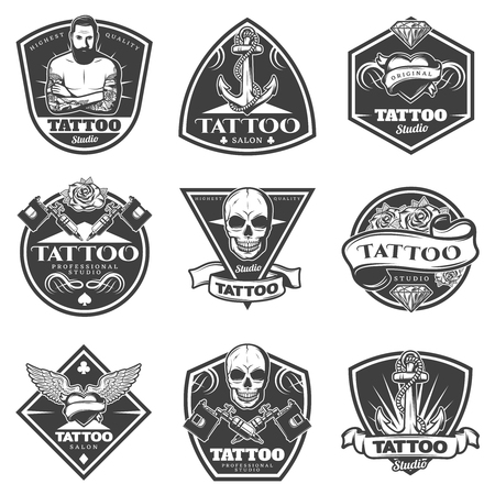 Monochrome tattoo salon labels set with master machine and different art elements in vintage style isolated vector illustration