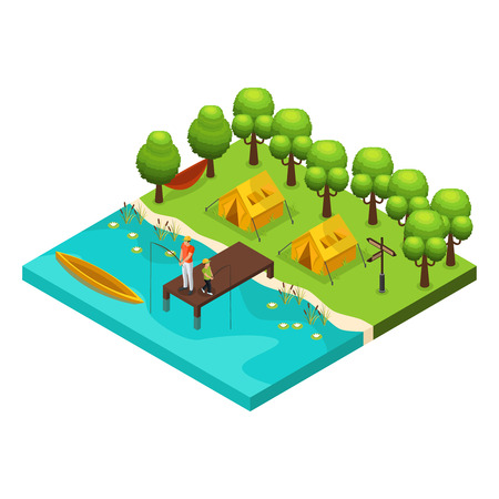 Isometric weekend recreation concept with father and son fishing together on lake isolated vector illustration