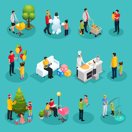 Isometric fatherhood elements set of father walking playing shopping cooking reading decorating Christmas tree fishing with children isolated vector illustration