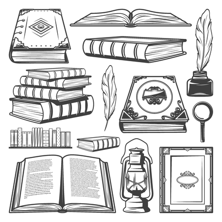 Vintage book elements collection with different books bookshelf feathers lantern and magnifier isolated vector illustration