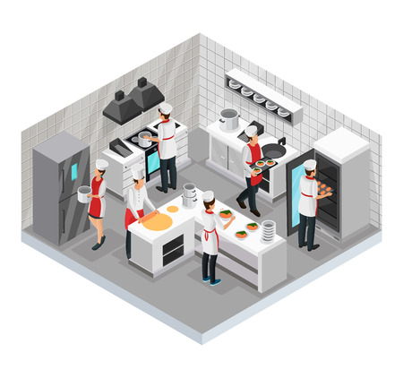 Isometric restaurant cooking room concept with cooks preparing and serving various dishes isolated vector illustration Illustration