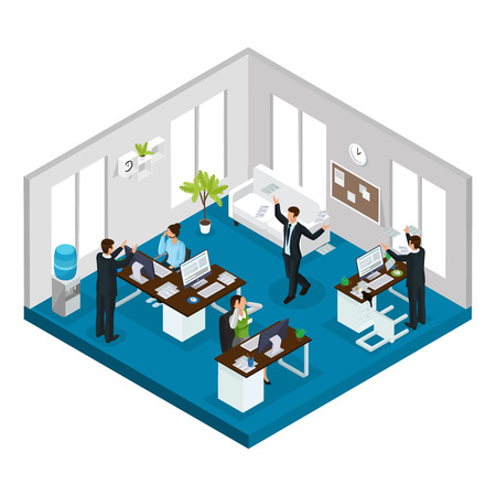 Isometric stress at work concept with workers in stressful and problematic situations in office isolated vector illustration