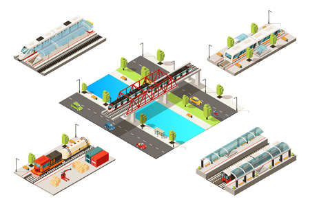 Isometric modern trains concept with passenger freight railway vehicles subway and bridge railroad isolated vector illustration