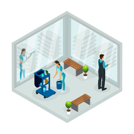 Isometric cleaning service concept with workers of company washing windows in office isolated vector illustration