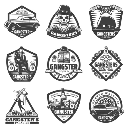 Vintage gangster labels set with mafia boss car weapon money gambling chips roulette skull hat whiskey isolated vector illustration