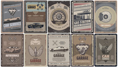 Vintage car service brochures collection with retro automobiles engine pistons flags gas station and auto parts isolated vector illustration Illustration