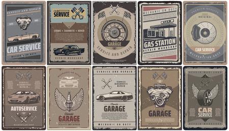Vintage auto service brochures collectie met retro auto's motor zuigers vlaggen benzinestation en auto-onderdelen geïsoleerde vector illustratie