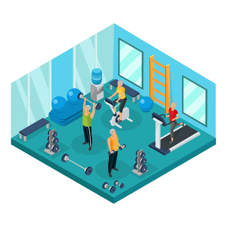 Isometric pensioners in gym concept with grandfathers lifting dumbbels barbells and grandmothers running on treadmill and exercising bike vector illustration