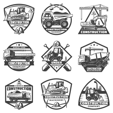 Vintage monochrome construction labels set with inscriptions building equipment trucks crane bulldozer excavator isolated vector illustration Illustration