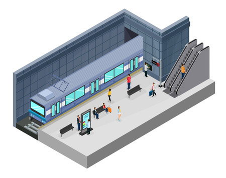 Isometric subway station concept with passengers on platform train escalator information stand and seats isolated vector illustration Vectores