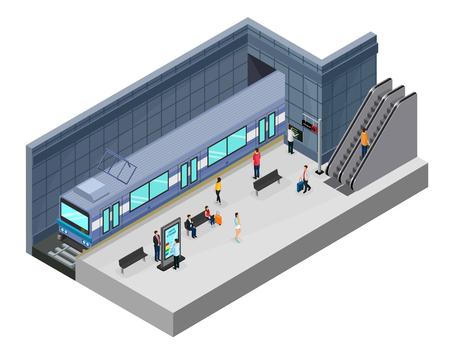 Isometrisches U-Bahnstation-Konzept mit Passagieren auf Bahnsteigzug Rolltreppeninformationsstand und Sitze isolierte Vektorillustration Vektorgrafik