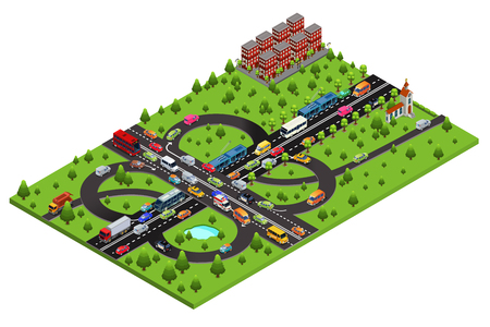 Isometric highway traffic template with automobiles buses trolleybuses taxi ambulance police cars moving on road isolated vector illustration Stock Illustratie