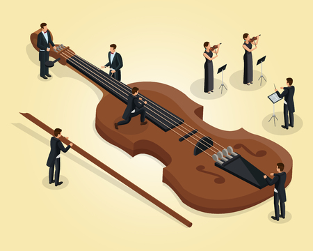 Isometric orchestra template with musicians tune violin female violinists and conductor isolated vector illustration