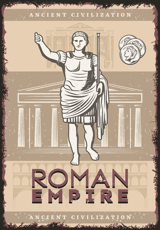 Vintage roman empire poster with inscription Julius Caesar coins on buildings of ancient rome civilization background vector illustration