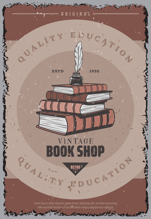 Vintage colored book store poster with feather and inkwell on pile of books vector illustration