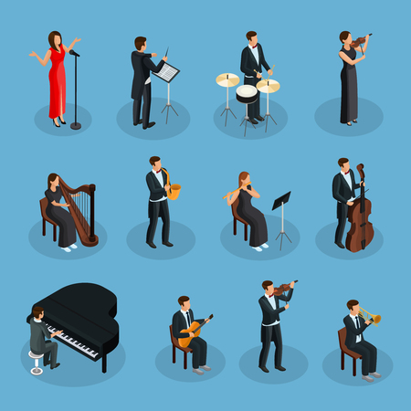 Isometric people in orchestra collection with conductor singer and musicians playing different musical instruments isolated vector illustration