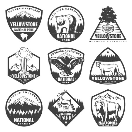 Vintage monochrome national park labels set with inscriptions rare animals trees mountains exploding geyser isolated vector illustration