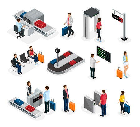 Isometric people in airport set with security and customs control waiting room departure board baggage carousel isolated vector illustration