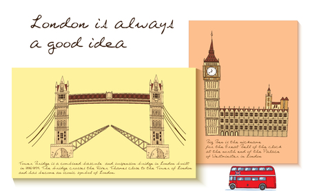 London card set with headline London is a good idea and different attractions on each card vector illustration Illustration