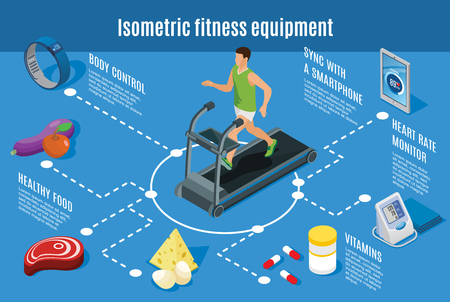 Isometric sport lifestyle flowchart with fitness exercises healthy food vitamins smart devices for body control and health monitoring isolated vector illustration