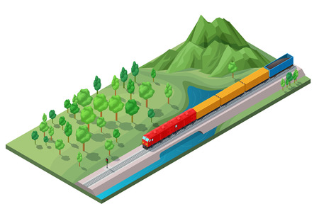Isometric railway logistic transportation concept with moving freight train on nature landscape isolated vector illustration