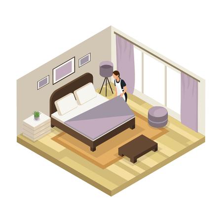 Concept de service hôtel isométrique avec femme de chambre portant illustration vectorielle de salle de nettoyage uniforme isolé