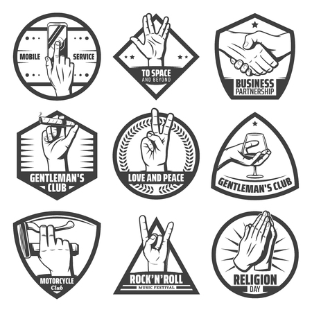 Vintage hands labels set with mobile touch handshake greeting salute rock goat peace praying instrument cigaro wineglass hold gestures isolated vector illustration